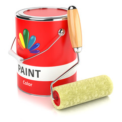 Can with print and roller paintbrush