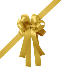 gold ribbon bow isolated on white background