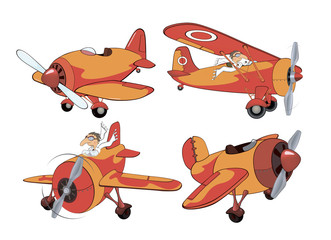 Set of old planes cartoon