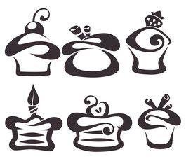 Vector collection of cakes images, symbols and emblems
