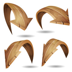 Cartoon Wood Arrows Signs Set