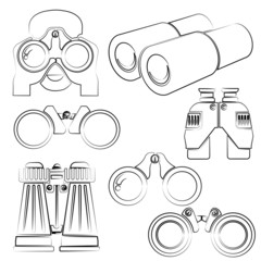 binocular set, pencil line