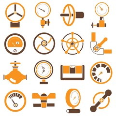 gauge and meter icons, brown and orange color theme