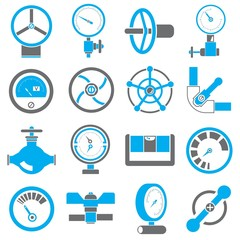 gauge and meter icons, black and blue color theme