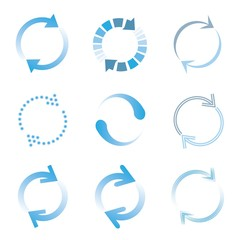 loading icons, blue color loading set