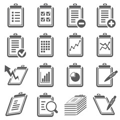 clipboard and document icons