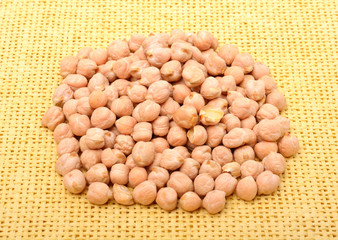 Chickpea on the yellow tablecloth