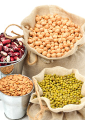 chick-pea, mung beans, kidney-beans in sacks isolated on white