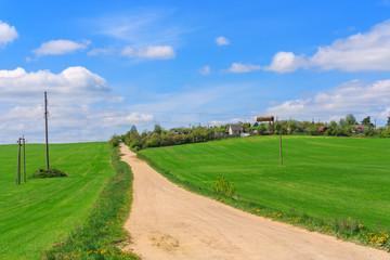 Rural road in village