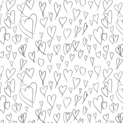 doodle seamless pattern with hand painted hearts