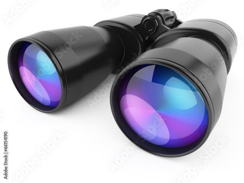Leinwandbild Motiv Black binoculars isolated on white background