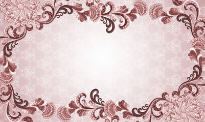 frame in shades of purple with embossed ornament