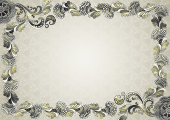 frame with embossed ornament with moire effect