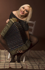 young woman with with an accordion