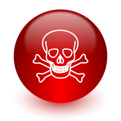 skull red computer icon on white background