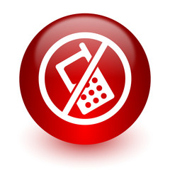 no phone red computer icon on white background