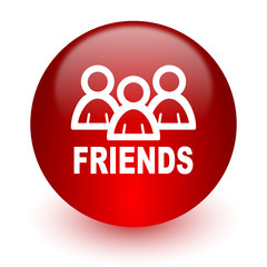 friends red computer icon on white background