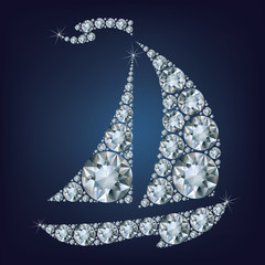 Ship made up a lot of diamonds