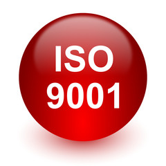 iso 9001 red computer icon on white background