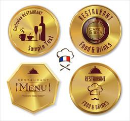 Set of golden restaurant labels