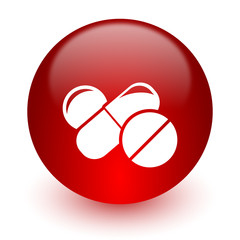 medicine red computer icon on white background