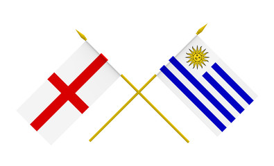 Flags, England and Uruguay