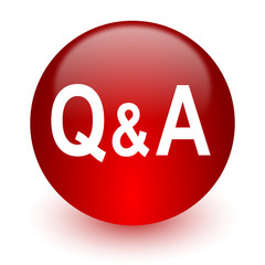 question answer red computer icon on white background