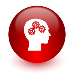 head red computer icon on white background