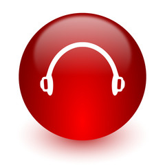 headphones red computer icon on white background