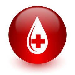 blood red computer icon on white background