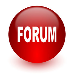 forum red computer icon on white background