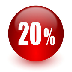 20 percent red computer icon on white background