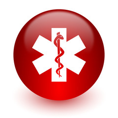 emergency red computer icon on white background