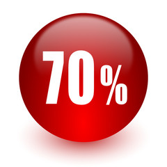 70 percent red computer icon on white background
