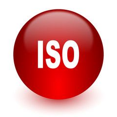 iso red computer icon on white background