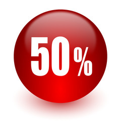 50 percent red computer icon on white background