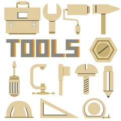 tools icons set, cardboard theme