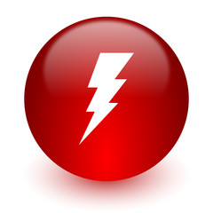 bolt red computer icon on white background