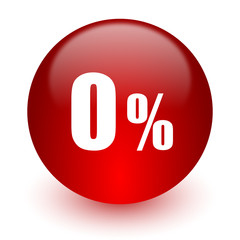 0 percent red computer icon on white background