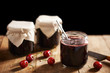 Homemade cherry jam in jars