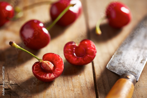 Red ripe open cherry