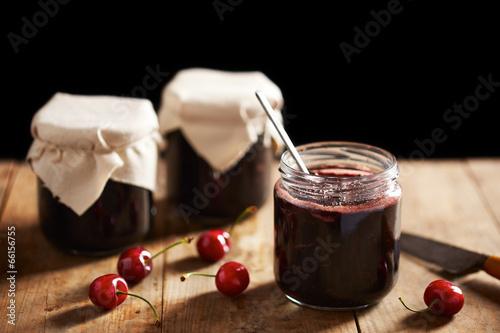 Homemade cherry jam in jars