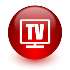 tv red computer icon on white background