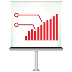 projector screen with increasing bar chart