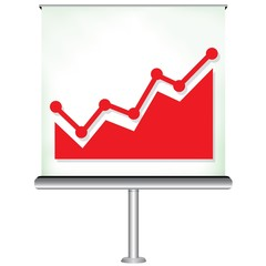 projector screen with increasing chart