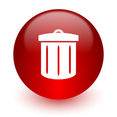 recycle red computer icon on white background