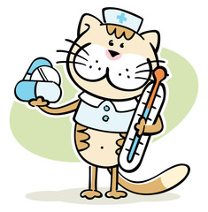 cartoon cat - veterinarian with thermometer and pills