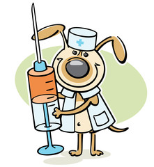 cartoon dog - veterinarian character with syringe