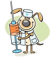 cartoon dog - veterinarian character with syringe