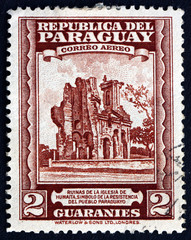 Postage stamp Paraguay 1945 Ruins of Humaita Church